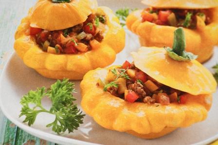 Фаршированные куриной печенью патиссоны с грибами